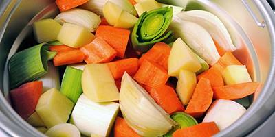 Chopped Vegetables In A Slow Cooker